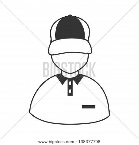 Courier profile in black and white colors, vector illustration graphic.