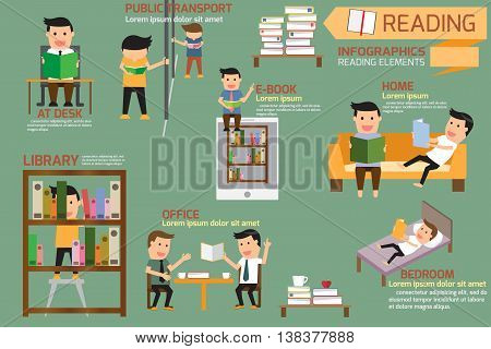 Book and reading elements infographics vector illustration.