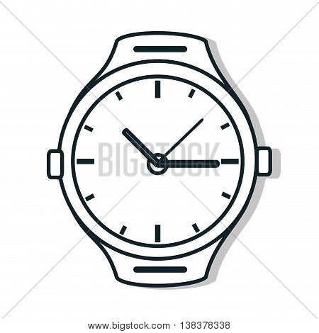 Time and clock isolated flat line icon in black and white colors, vector illustration graphic.