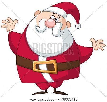 Funny Santa Claus raising his arms