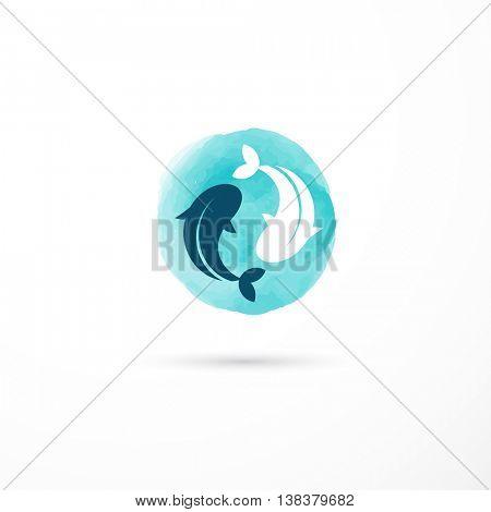Alternative medicine and wellness, yin yang concept - vector watercolor icon