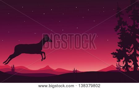 Christmas scenery deer of silhouette vector illustration