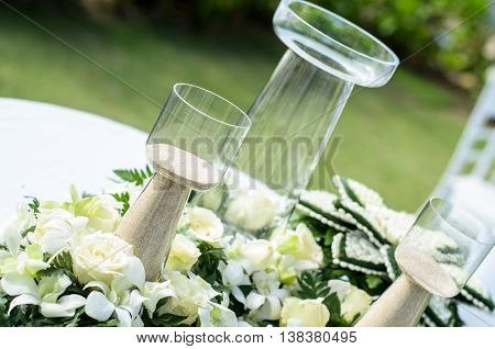 Sand and bottle to used for wedding ceremonies western wedding close up object and blur background