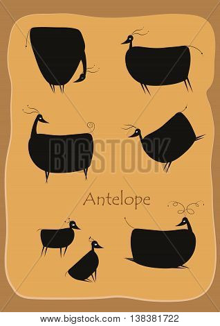 Set of seven black antelopes. Vintage  illustration