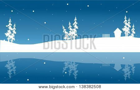 Christmas winter scenery of silhouette and reflection vector