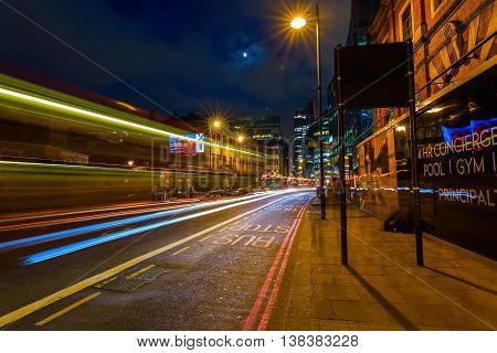 Shoreditch High Street In London, Uk, At Night