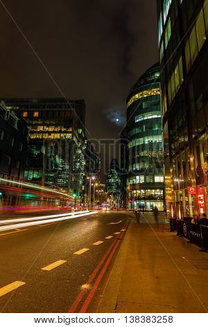 Street View In The City Of London At Night