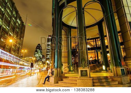 Historical Building At Bishopsgate In The City Of London At Night