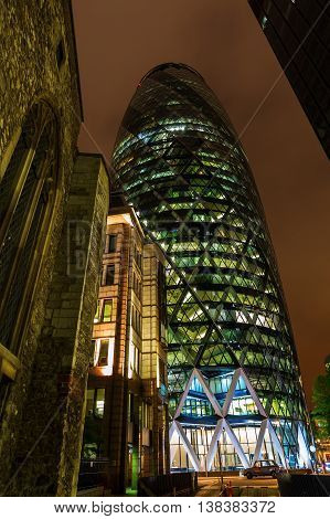 30 St Mary Axe In London, Uk, At Night