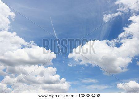 Blue sky with white big cloud Beautiful sky and raincloud motion.