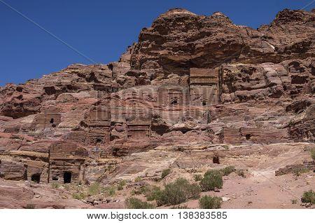 Cave Tombs In Jebel Madbah Mountain. Petra, Jordan