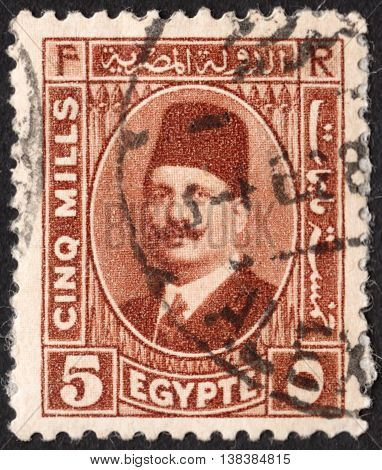MOSCOW RUSSIA - JANUARY 2016: a post stamp printed in EGYPT shows a portrait of King Fuad I of Egypt the series