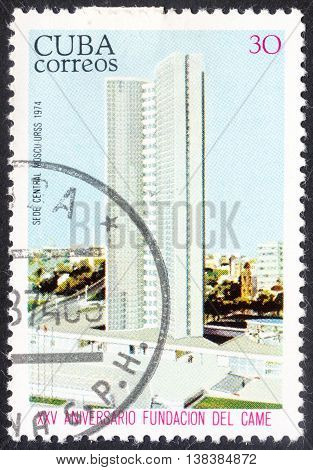 MOSCOW RUSSIA - JANUARY 2016: a post stamp printed in CUBA devoted to the 25th Anniversary of The Council for Mutual Economic Aid