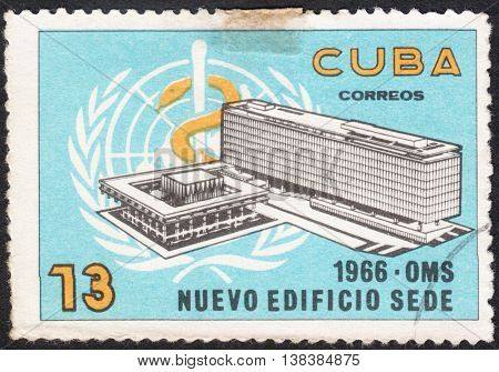 MOSCOW RUSSIA - CIRCA JANUARY 2016: a post stamp printed in CUBA shows the building of the W.H.O. Headquarters the series