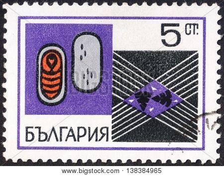 MOSCOW RUSSIA - JANUARY 2016: a post stamp printed in BULGARIA shows element of textile industry the series
