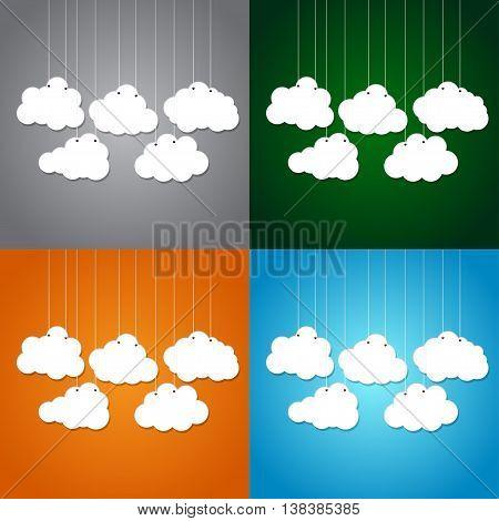 White clouds on a thread on a dark blue background