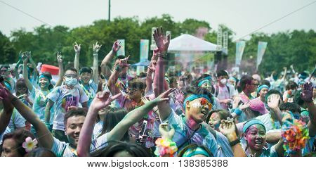 Chengdu Sichuan province China - July 2 2016: Runners having fun at the Color Run China in Chengdu