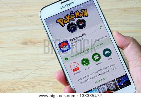KOTA KINABALU MALAYSIA - 14 JULY 2016: Smart phone with Pokemon Go in Google Play showing it's not available your country its a mobile game developed by Niantic for iOS and Android devices.
