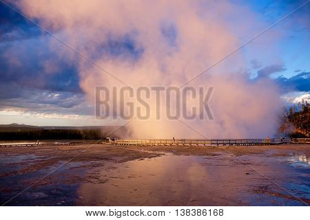 Excelsior Geyser in Midway Geyser Basin of Yellowstone National Park Jackson Hole Wyoning USA.