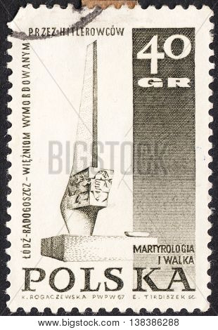 MOSCOW RUSSIA - JANUARY 2016: a post stamp printed in POLAND shows a Monument the series