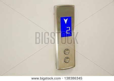 Close-up Elevator Pressing. Modern Metal Elevator. Red button. businessman is a lift.