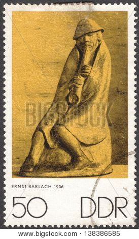 MOSCOW RUSSIA - JANUARY 2016: a post stamp printed in DDR shows a sculpture