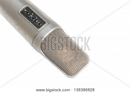 Condenser, dynamic mic in Studio recording on a white background and Clipping path