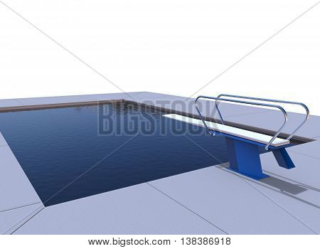 3d illustration of pool. white background isolated. sport swimming. healthy excercise.