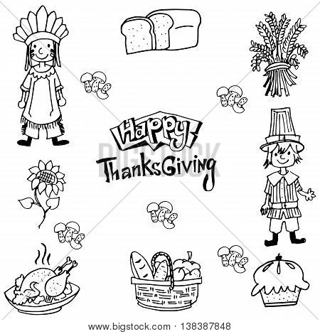 Hand draw Thanksgiving element in doodle illustration