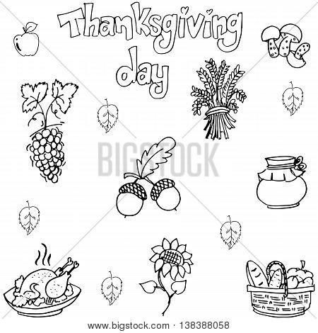 Doodle of element Thanksgiving flat vector art