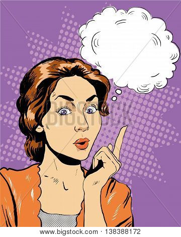 Thinking woman with speech bubble. Vector illustration in retro pop art comic style.