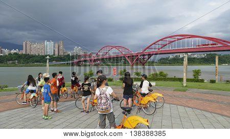 New Taipei City Taiwan : 13 July 2016 : Nice view of Taipei Central River bike path Taiwan