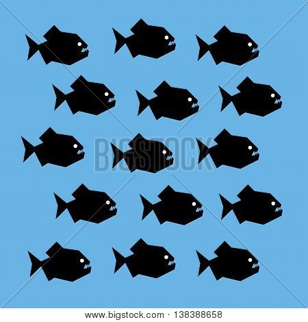 Vector stylized graphic illustration of a shoal of piranha fish. Black silhouettes of scary creatures with big teeth and white eyes. Square format, blue background.