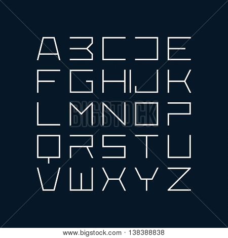 Thin line style modern uppercase font