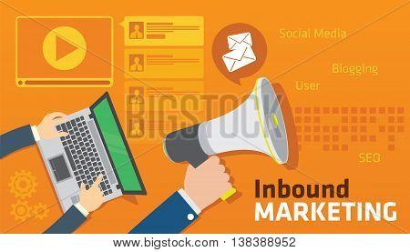 inbound content blog marketing SEO vector illustration