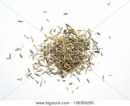 Macro of dried organic thyme leaves off the sprig