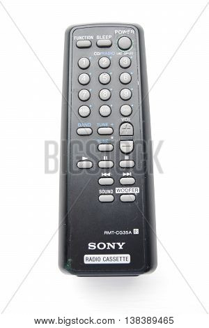 MARBLEHEAD MA - JULY 10th 2016: Sony RMT-CG35A TV Radio Cassette small black remote control from mid-2000s