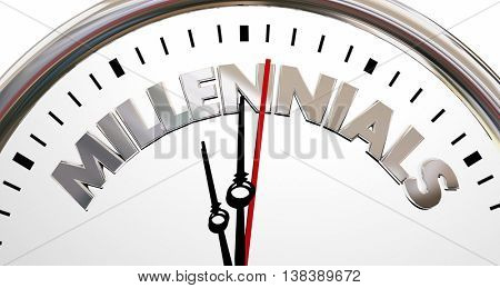 Millennials Generation Y Young People Clock Time 3d Illustration