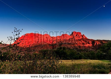 Illuminated red cliffs, blue sky, and moon at Zion National Park