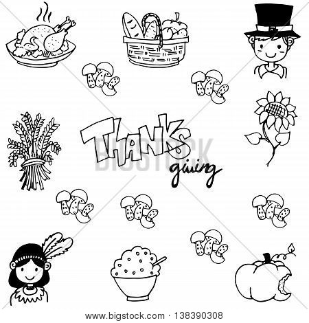 Thanksgiving doodle vector art on white backgrounds