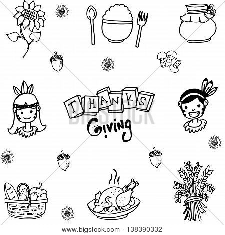 Doodle of Thanksgiving flat hand draw illustration