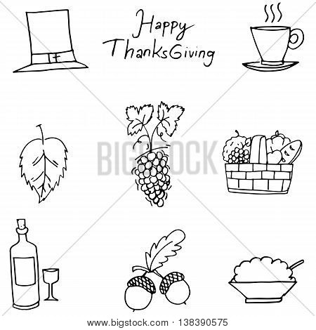Thanksgiving flat hand draw fruit in doodle vector
