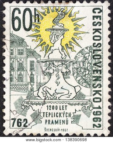 MOSCOW RUSSIA - JANUARY 2016: a post stamp printed in CZECHOSLOVAKIA shows the Klary's Fountain Teplice devoted to the 1200th Anniversary of Discovery of Teplice Springs circa 1962