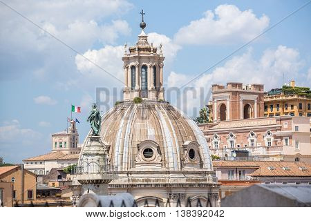 Trajan Column And The Church At Trajan Forum, Rome, Italy