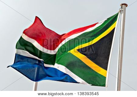 South African Flag Fluttering in the Wind