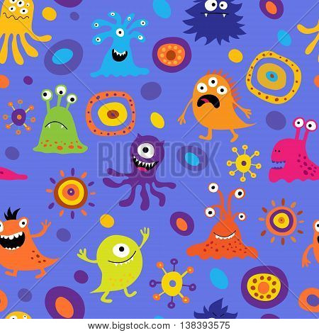 The seamless background with a colorful monsters