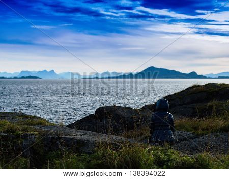 Horizontal Vibrant Staring At Norway Landscape Nature Background