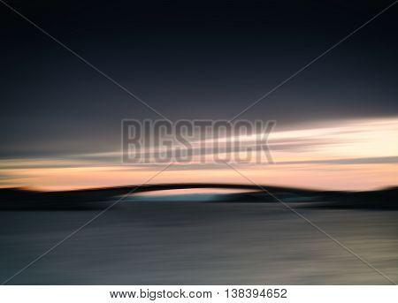 Horizontal Dark Vivid Norway River Fjord Arc Bridge Abstraction