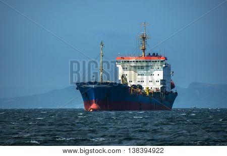 Container ship in the sea near Vladivostok