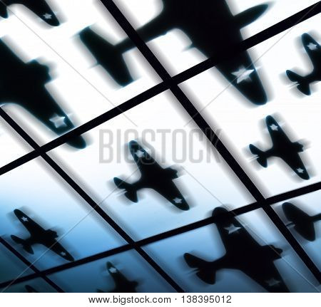 Square black and white air bombing fighter jet raid abstraction background backdrop